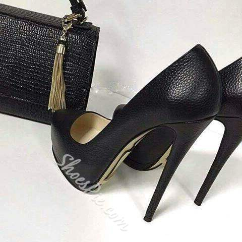 Shoespie Black OL Style Platform Stiletto Heels
