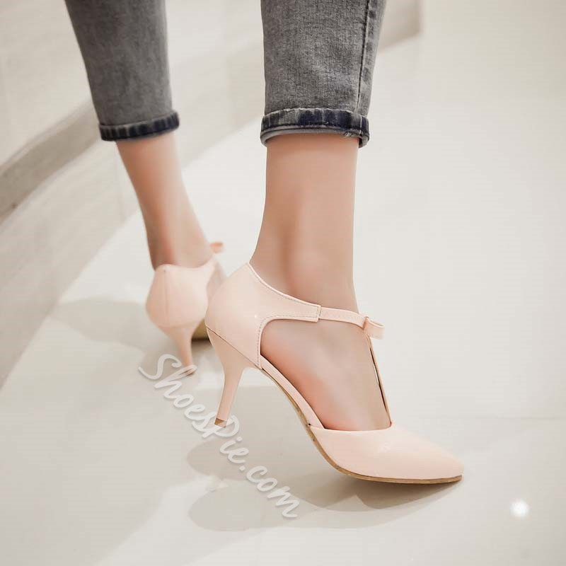 Shoespie Sweet Pointed Toe Bowtie Low Heels