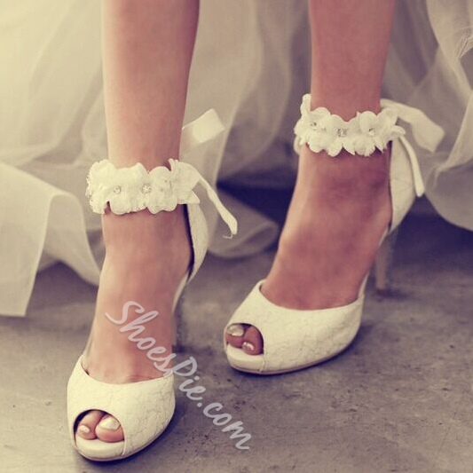 Shoespie Ankle Appliqued Peep Toe Wedding Shoes Shoespie