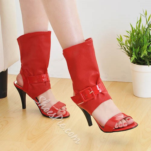 Shoespie Elegant Open Toe Buckles Ankle Boots