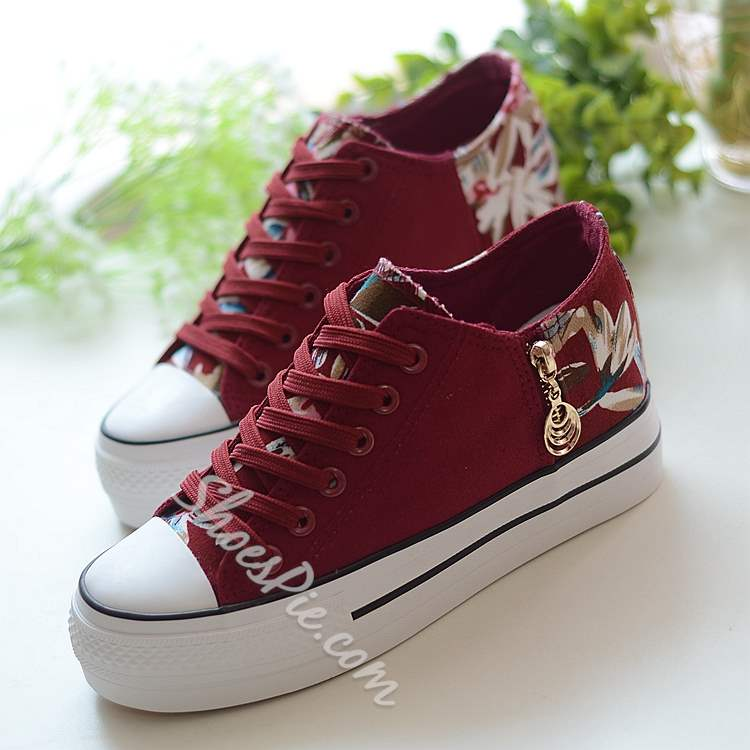 Shoespie Flower Print Side Zipper Decorated Elevated Heel Canvas Shoes