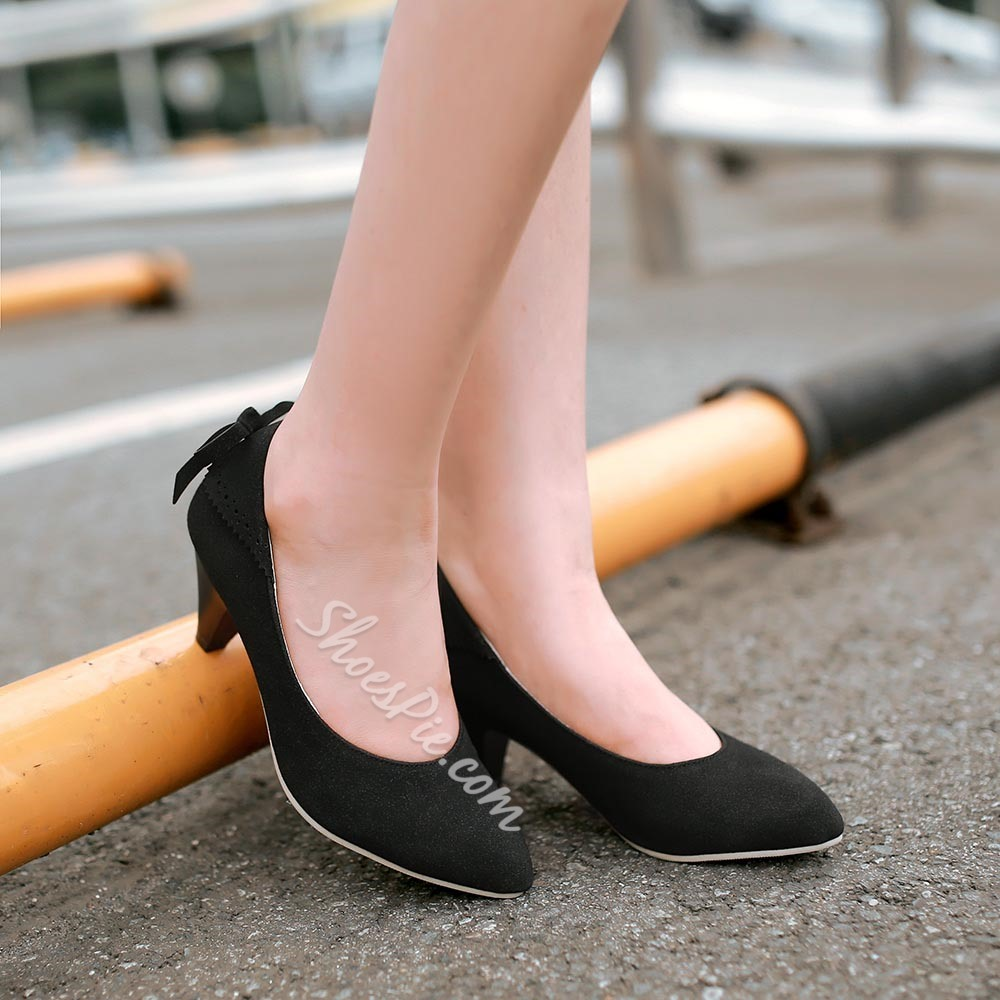 Shoespie Comfortable Pointed Toe Kitten Low Heels