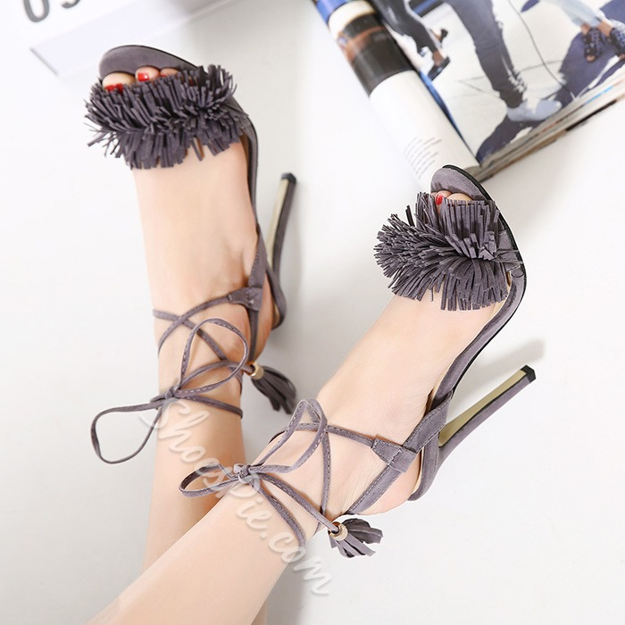 Shoespie New Arrival Tassels Lace Up Dress Sandals