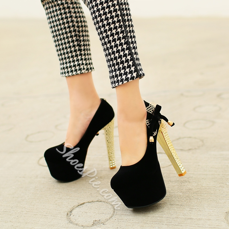 Shoespie Knot Appliqued Platform Crstyal Chunky Heel Pumps