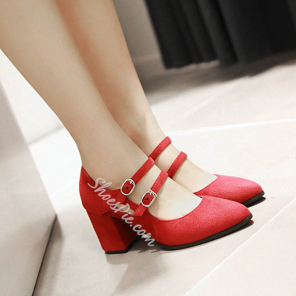 Shoespie Solid Color Chunky Heel Mary Jane Shoes