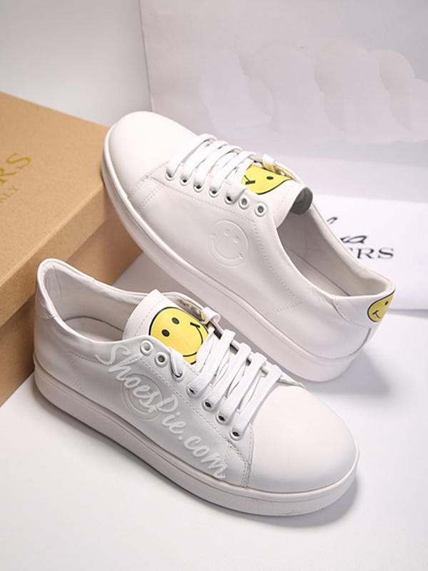 Shoespie Genuine Leather Cartoon Print Lace Up Casuals Sneakers