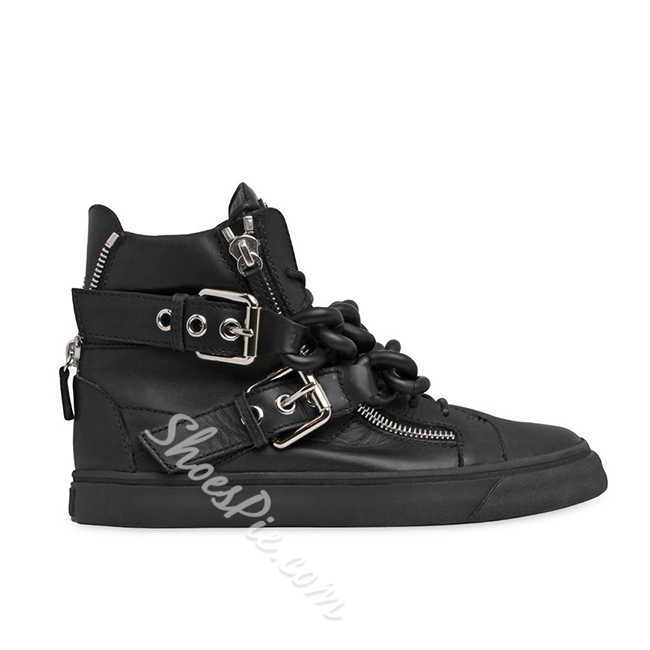 Shoespie Black Color Chains Buckles Zippers Men's Skate Sneakers
