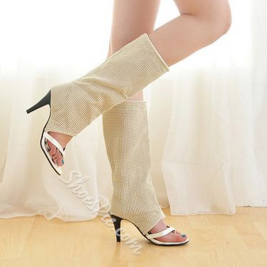 Shoespie Thong Stiletto Heel Knee High Boots