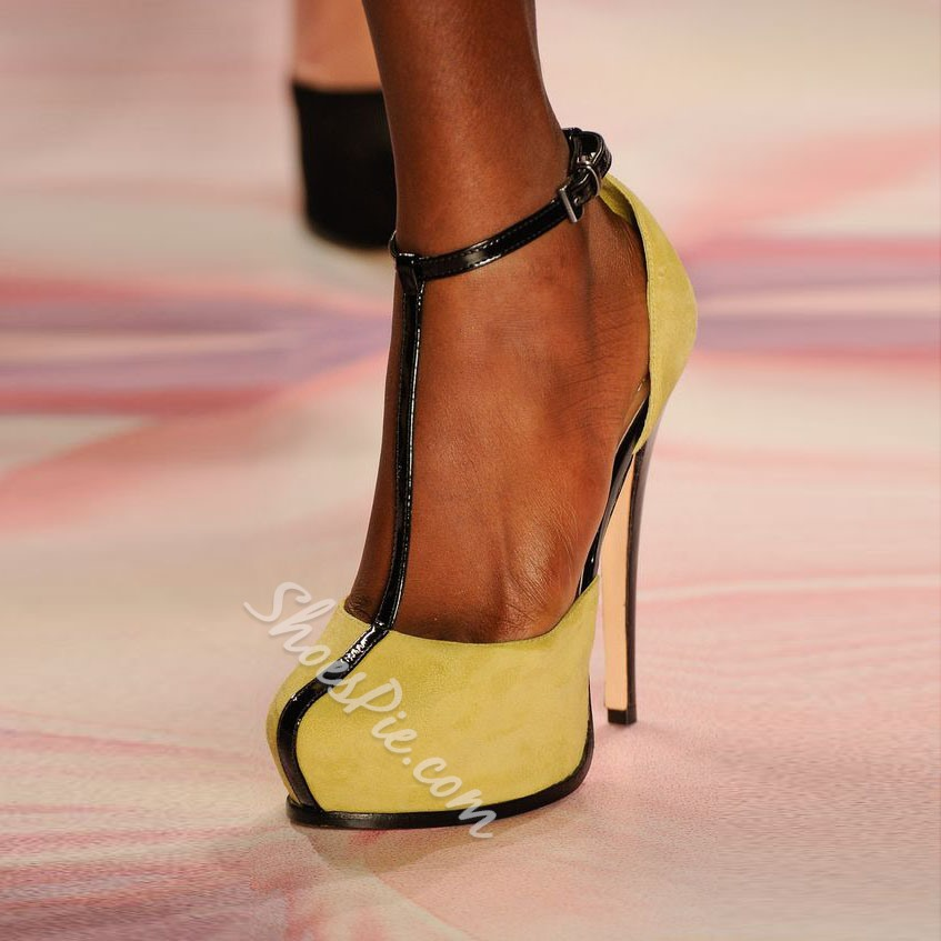 Shoespie Yellow T Strap Platform Heels