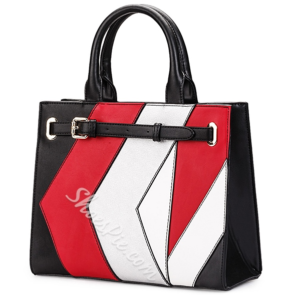 Shoespie Color Block Belted Large Tote Bag