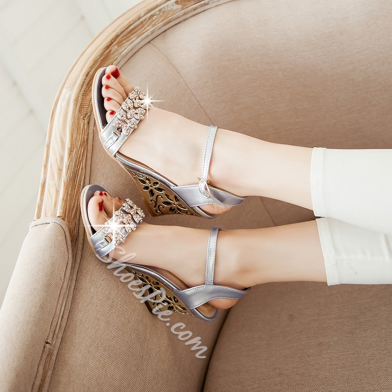 Shoespie Bling Bling Rhinestone Hollow Heel Wedge Sandals