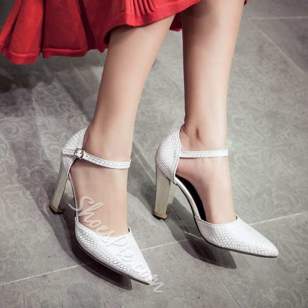 Shoespie Pointed Toe Ankle Wrap Low Heels
