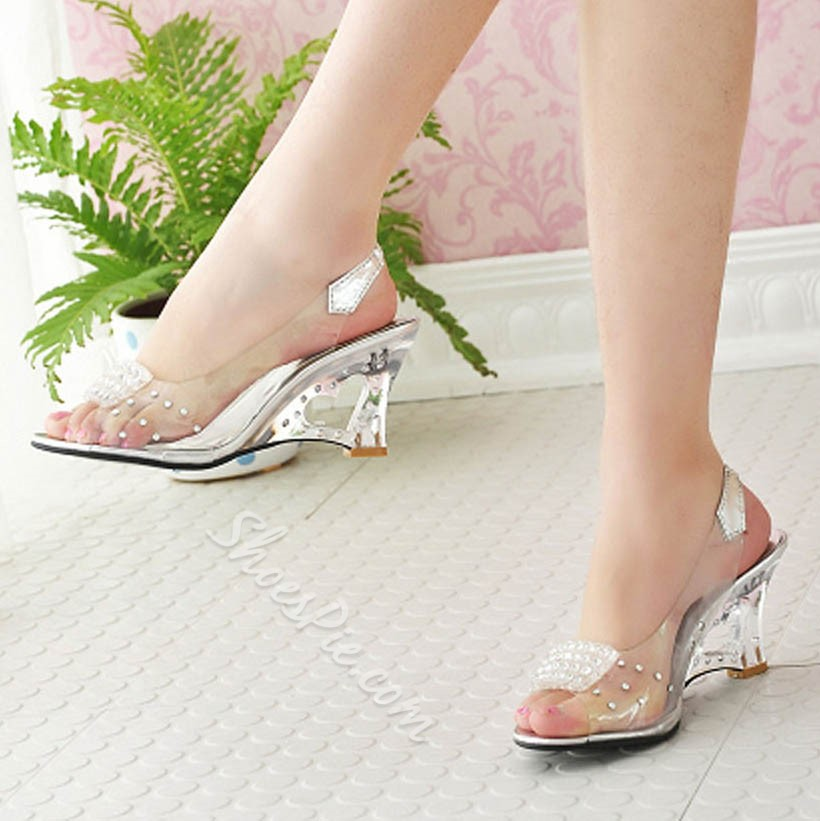 Shoespie Transparent Heart Shape Hollow Wedge Heel Slip On Sandals