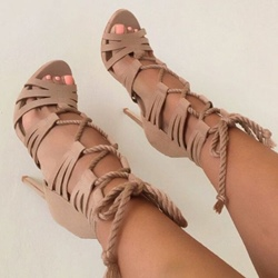 Shoespie Apricot Rope Lace Up Sandals