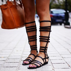 Shoespie Black Concise Flat Gladiator Sandals