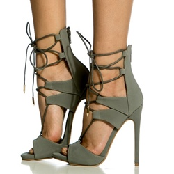Shoespie Gray Nubuck Lace Up Snadals