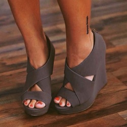Shoespie Dark Gray Back Zipper Wedge Sandals