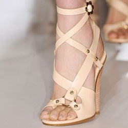 Shoespie Apricot Cross Straps Dress Sandals