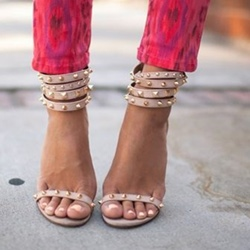 Shoespie Nude Color Rivets Ankle Wrap Sandals