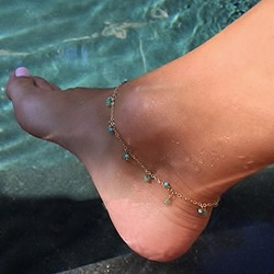Shoespie Green Stone Anklets
