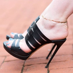 Shoespie Black Platform Slipper Sandals