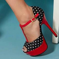 Shoespie Sweet Color Contrast Dots Print Platform Dress Sandals