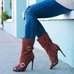 Shoespie Peep Toe Dark Brown Stiletto Heel Ankle Boots