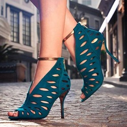 Shoespie Pearlecent Aqua Cage Cutout Sandals