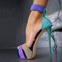 Shoespie Contrast Color Ankle Wrap Platform Sandals