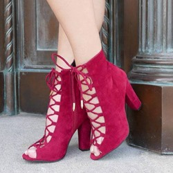 Shoespie Red Lace Up Peep Toe Chunky Heel Ankle Boots