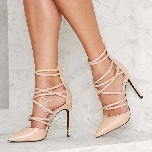 Shoespie Nude Cross Strap Back Zipper Stiletto Heels Shoespie