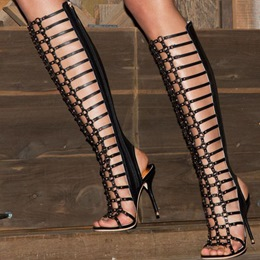Shoespie Knee High Caged Cutout Gladiator Sandals