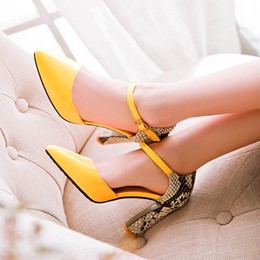 Shoespie Snake Pattern Pointed Toe Chunky Heels