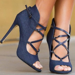 Shoespie Cloth Cross Strappy Dress Sandals