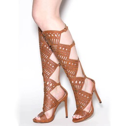 Shoespie Brown Cage Cutout Roman Gladiator Sandals