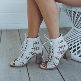 Shoespie White Cutout Cage Lace Up Chunky Heel Sandals