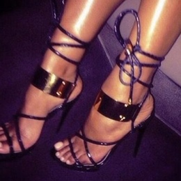 Shoespie Sexy Metal Lace Up Sandals
