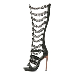 Shoespie Black Chains Knee High Sandal Boots