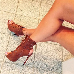 Shoespie Lace Up Side Zipper Naked Ankle Sandal Boots