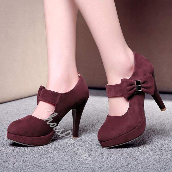 Shoespie Sweet Bowtie Platform Stiletto Heels
