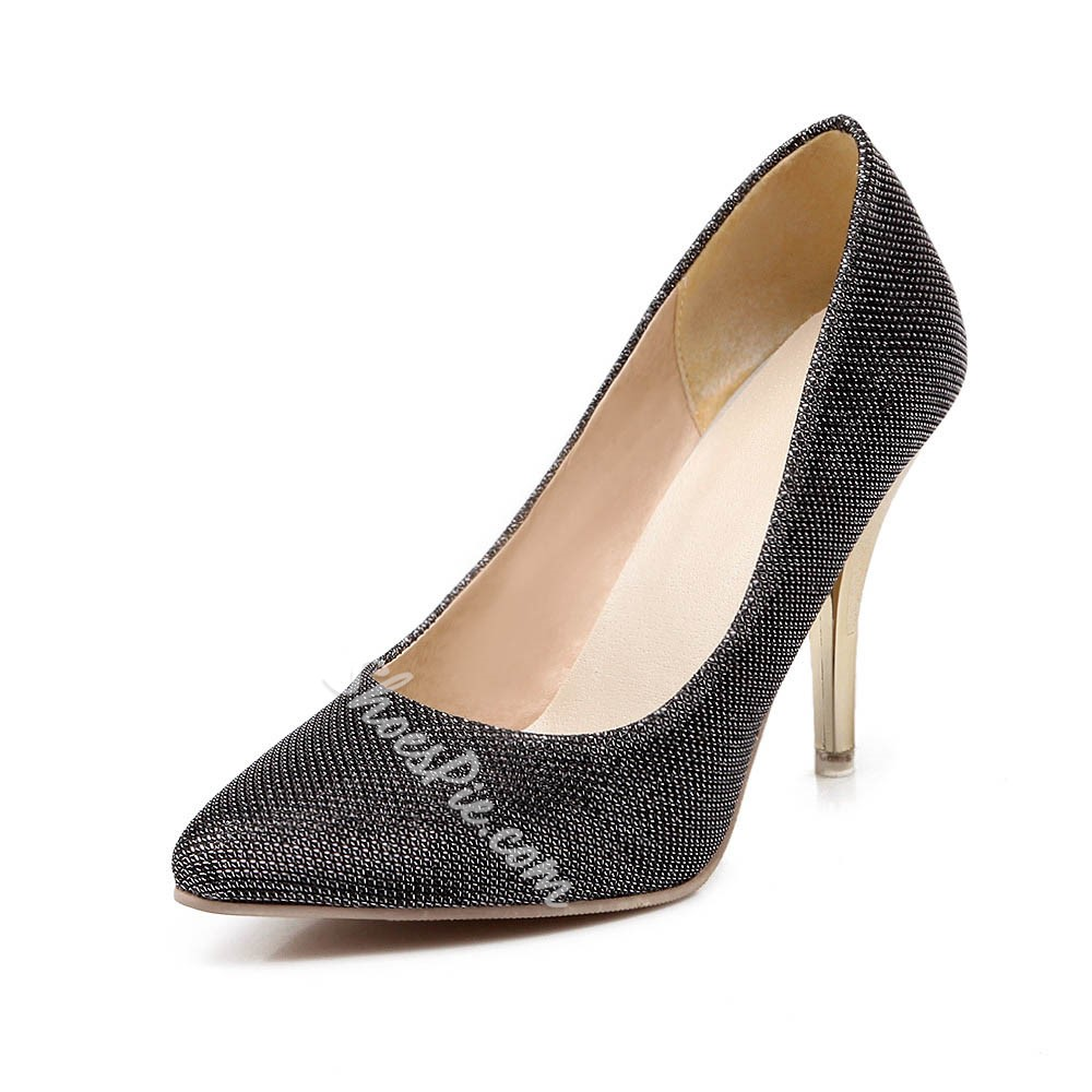 Shoespie Newly Sequined Pointed Toe Metal Stiletto Heels