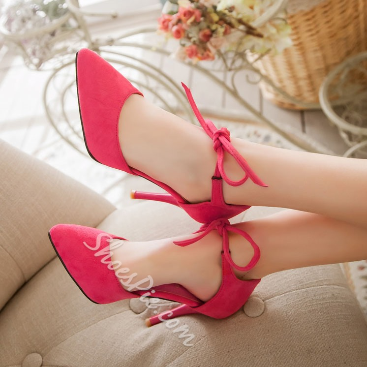 Shoespie Elegant Pointed Toe Lace Up Stiletto Heels