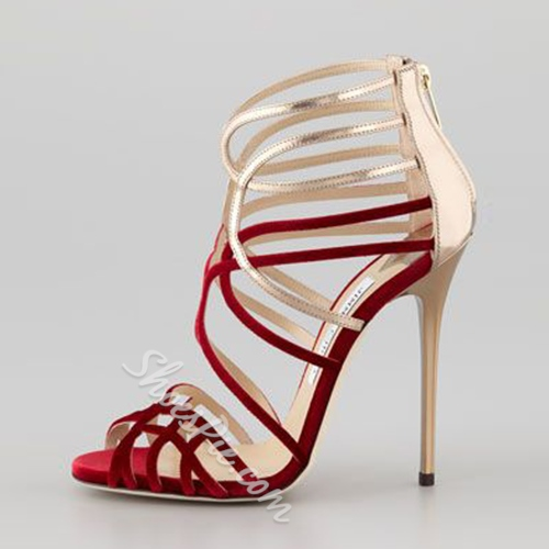 Shoespie Color Contrast Cross Strappy Sandals