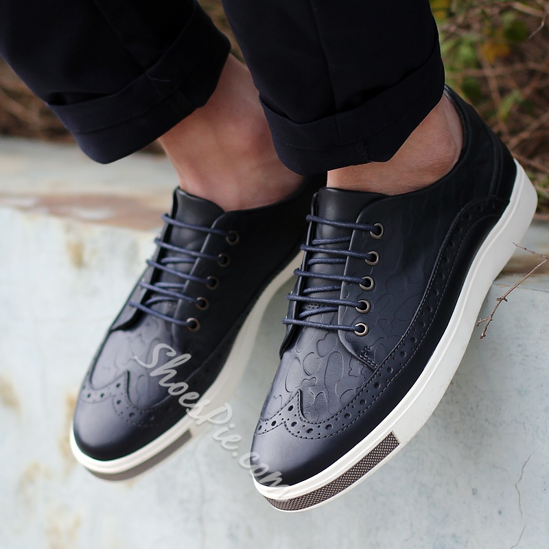 Shoespie Embossed and Carved Lace Up Men's
