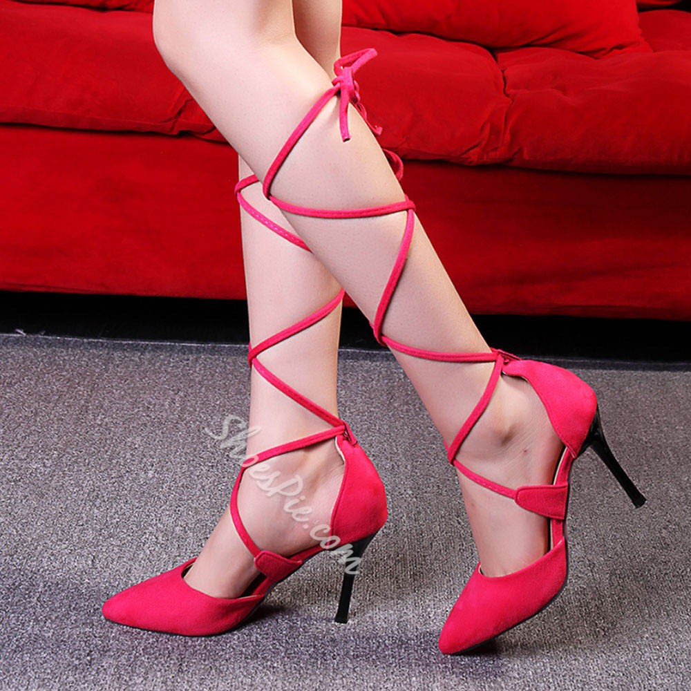 Shoespie Sexy Pointed Toe Lace Up Stiletto Heels