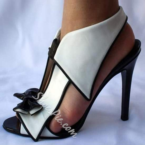 Shoespie Sexy Black and White Bowtie Dress Sandals
