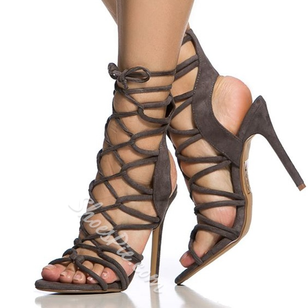 Shoespie Suede Multi Color Lace Up Sandals