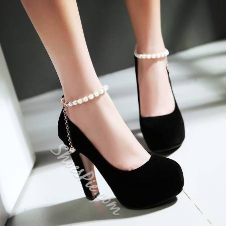 Shoespie Sexy Round Toe Line-Style Buckle Beads Wedding Bridal Shoes