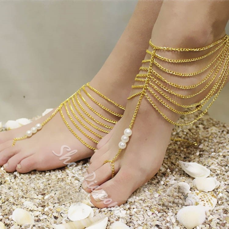 Shoespie Layered Beading Anklets (Pair)