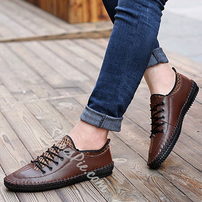 Shoesppie Leather and Mesh Lace Up Men's Casual Shoes